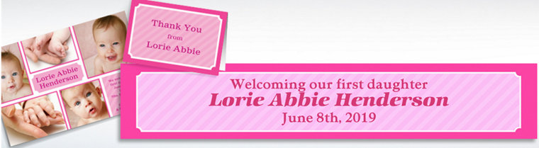 Custom Sweet Photo Collage Girl Announcements, Thank You Notes & Banners