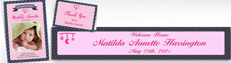 Custom Introducing the Baby Girl Announcements, Thank You Notes & Banners
