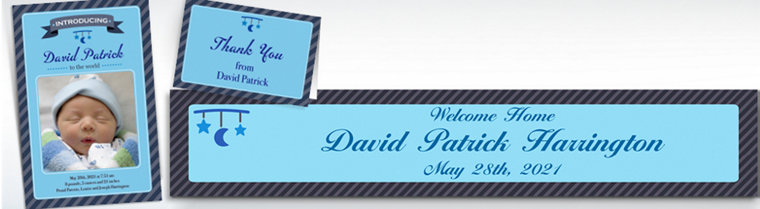 Custom Introducing the Baby Boy Announcements, Thank You Notes & Banners