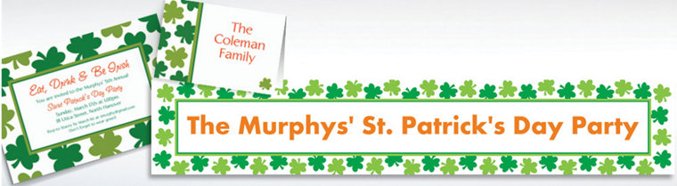 Custom Shamrock Shimmer St. Patrick's Day Invitations & Thank You Notes