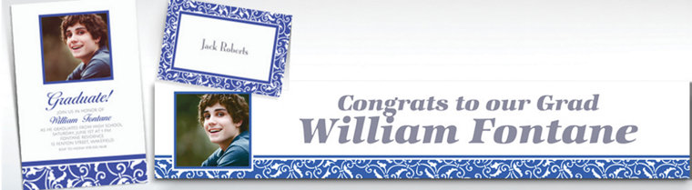 Custom Royal Blue Ornamental Scroll Invitations & Thank You Notes