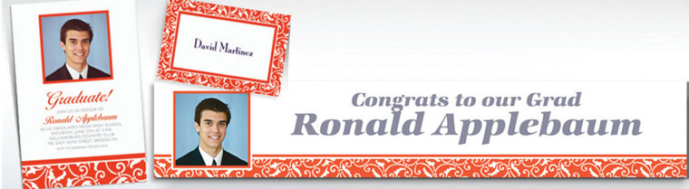 Custom Orange Ornamental Scroll Invitations & Thank You Notes