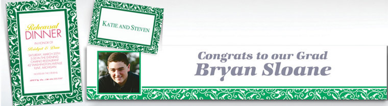 Custom Festive Green Ornamental Scroll Invitations & Thank You Notes