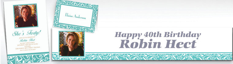 Custom Robin's Egg Blue Ornamental Scroll Invitations & Thank You Notes