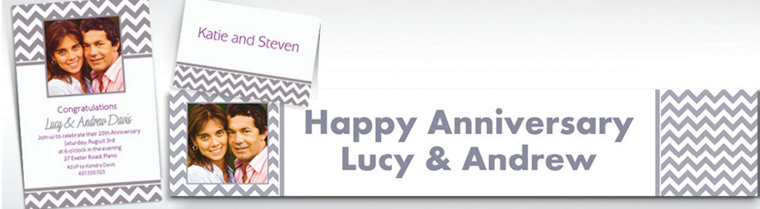 Custom Silver Chevron Invitations & Thank You Notes