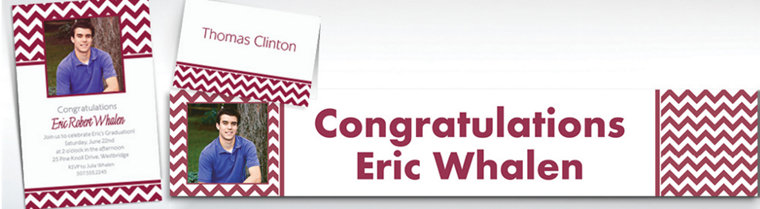 Custom Berry Chevron Invitations & Thank You Notes