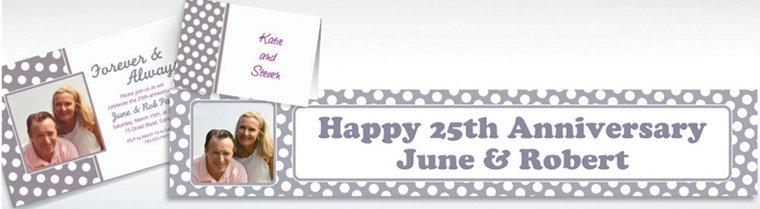 Custom Silver Polka Dot Invitations & Thank You Notes