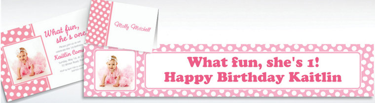 Custom Pink Polka Dot Invitations & Thank You Notes
