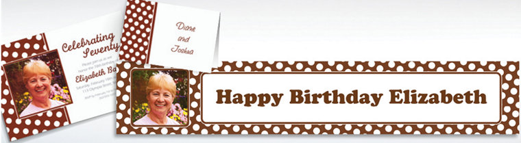 Custom Chocolate Brown Polka Dot Invitations & Thank You Notes