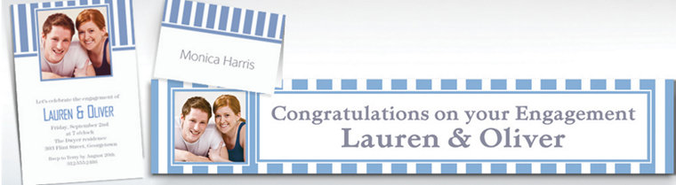 Custom Pastel Blue Striped Invitations & Thank You Notes