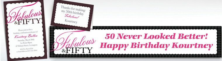 Custom Fabulous & Fifty Invitations