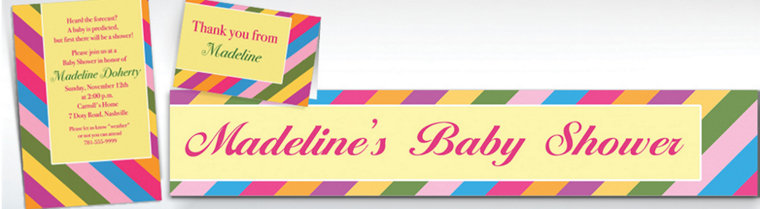 Custom Diagonal Stripe Warm Invitations & Thank You Notes