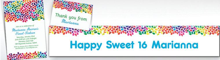 Custom Rainbow Droplets Invitations & Thank You Notes