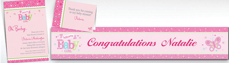 custom welcome little one girl invitations thank you notes - Baby Shower Invitations Party City