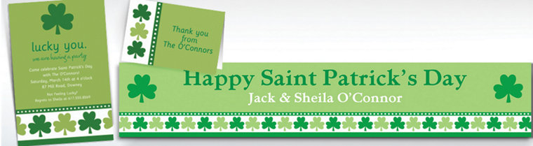 Custom Lucky Shamrocks Invitations & Thank You Notes