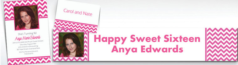 Custom Bright Pink Chevron Invitations & Thank You Notes