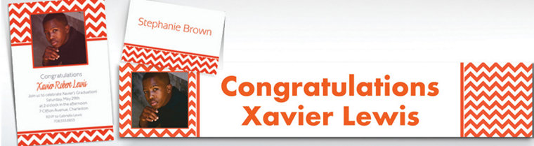 Custom Orange Chevron Invitations & Thank You Notes