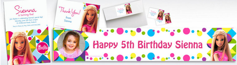 Custom Barbie Sparkle Invitations & Thank You Notes