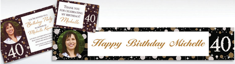 Custom Sparkling Celebration 40 Invitations & Thank You Notes