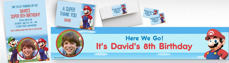 Custom Super Mario Invitations & Thank You Notes