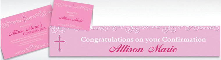 Custom Filigree & Cross Pink Invitations & Thank You Notes