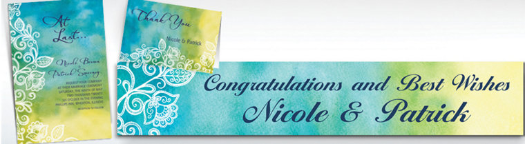 Custom Ombre Floral Cool Invitations & Thank You Notes