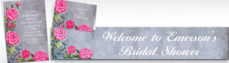 Custom Floral Brush Stroke Invitations & Thank You Notes