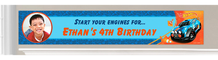 Custom Hot Wheels Wild Racer Birthday Banners