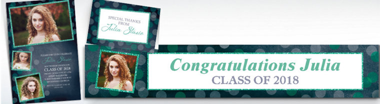 Custom Glitter Mint Frames and Dots Graduation Banners, Invitations & Thank You Notes