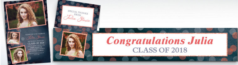 Custom Glitter Salmon Frames and Dots Graduation Banners, Invitations & Thank You Notes