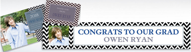 Custom Chevron & Matte Silver Graduation Invitations & Thank You Notes