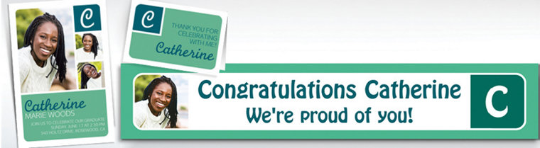 Custom Mint Color Block Initial Graduation Banners, Invitations & Thank You Notes