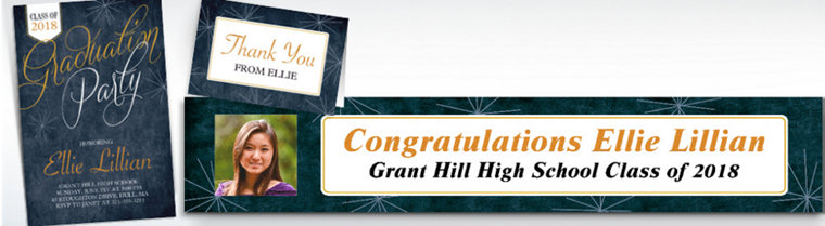 Custom Fireworks Script Graduation Banners, Invitations & Thank You Notes