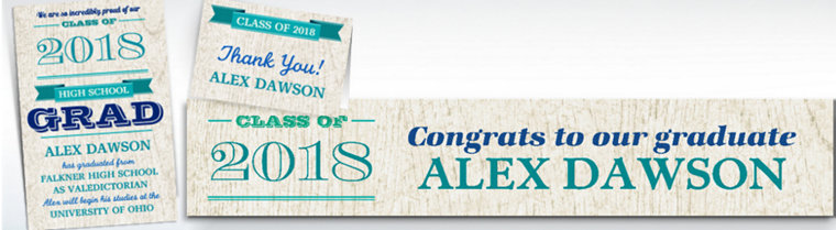 Custom Wood Graduation Banners, Invitations & Thank You Notes