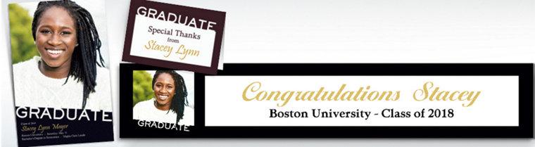 Custom Black Slant Graduation Invitations & Thank You Notes