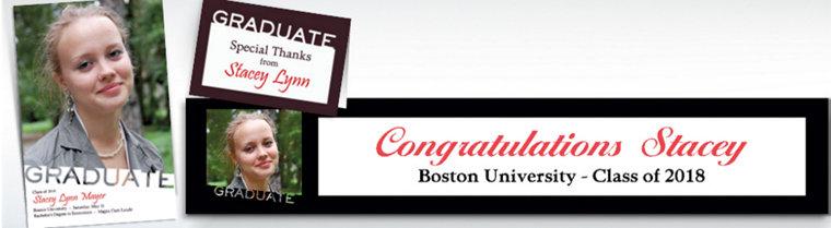 Custom White Slant Graduation Invitations & Thank You Notes