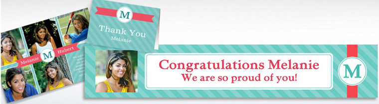 Custom Teal & Pink Initial Graduation Banners, Invitations & Thank You Notes