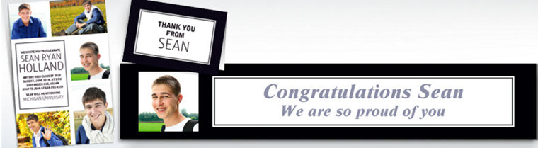 Custom Classic White Graduation Banners, Invitations & Thank You Notes