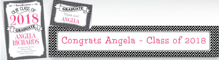 Custom Black & White Chevron Graduation Banners, Invitations & Thank You Notes