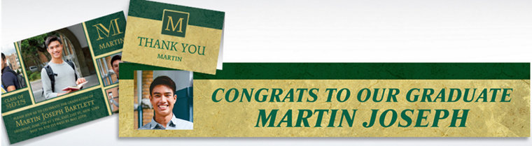 Custom Gold & Green Textured Graduation Banners, Invitations & Thank You Notes