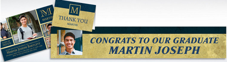 Custom Gold & Navy Textured Graduation Banners, Invitations & Thank You Notes