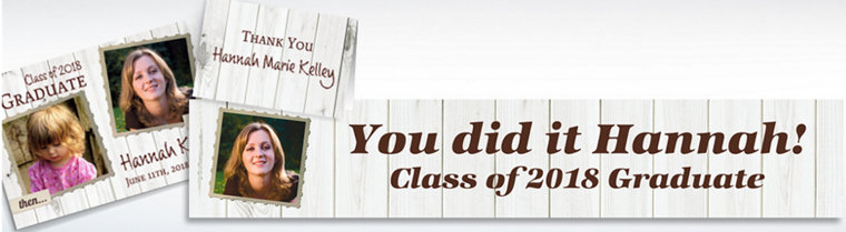 Custom White Wood Graduation Banners, Invitations & Thank You Notes