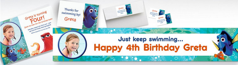 Custom Finding Dory Invitations & Thank You Notes