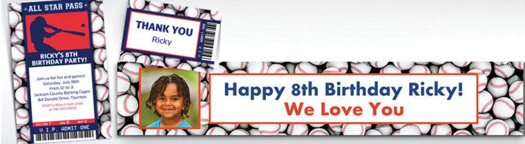 Custom Baseball Ticket Banners, Invitations & Thank You Notes