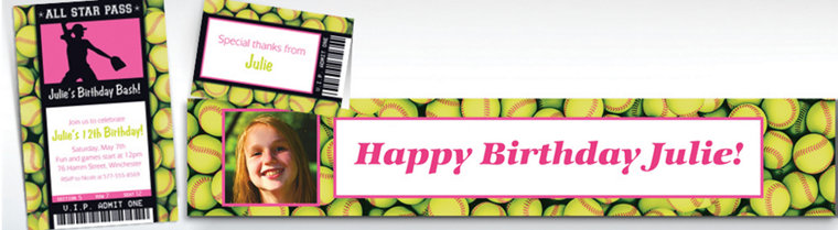 Custom Softball Ticket Banners, Invitations & Thank You Notes