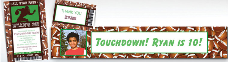 Custom Football Ticket Banners, Invitations & Thank You Notes