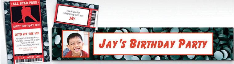 Custom Hockey Ticket Banners, Invitations & Thank You Notes