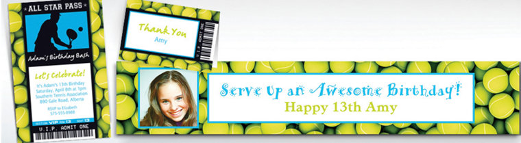 Custom Tennis Ticket Banners, Invitations & Thank You Notes