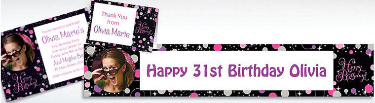 Custom Pink Sparkling Celebration Birthday Banners, Invitations & Thank You Notes