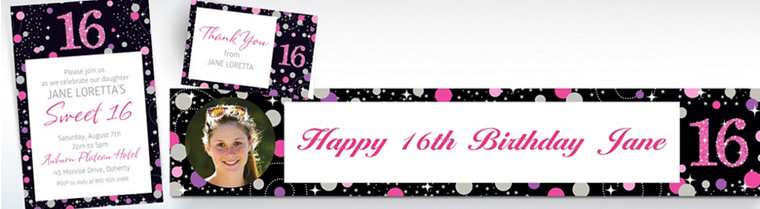 Custom Pink Sparkling Celebration 16th Birthday Invitations, Thank You Notes & Banners